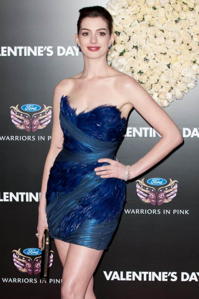 Anne Hathaway at the premiere of Valentine's Day