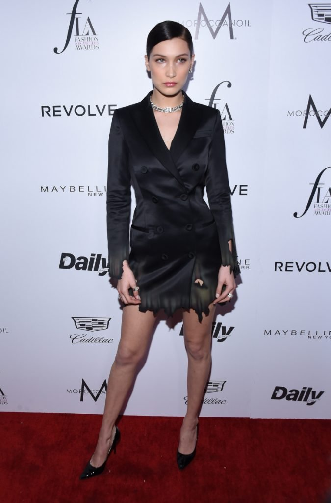 Bella Hadid arrives to the Annual Fashion Awards
