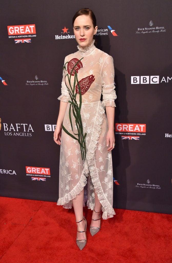 Rachel Brosnahan arrives for the BAFTA Tea