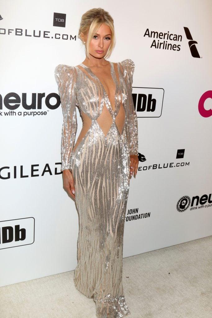 Paris Hilton at the Elton John Oscar Viewing Party