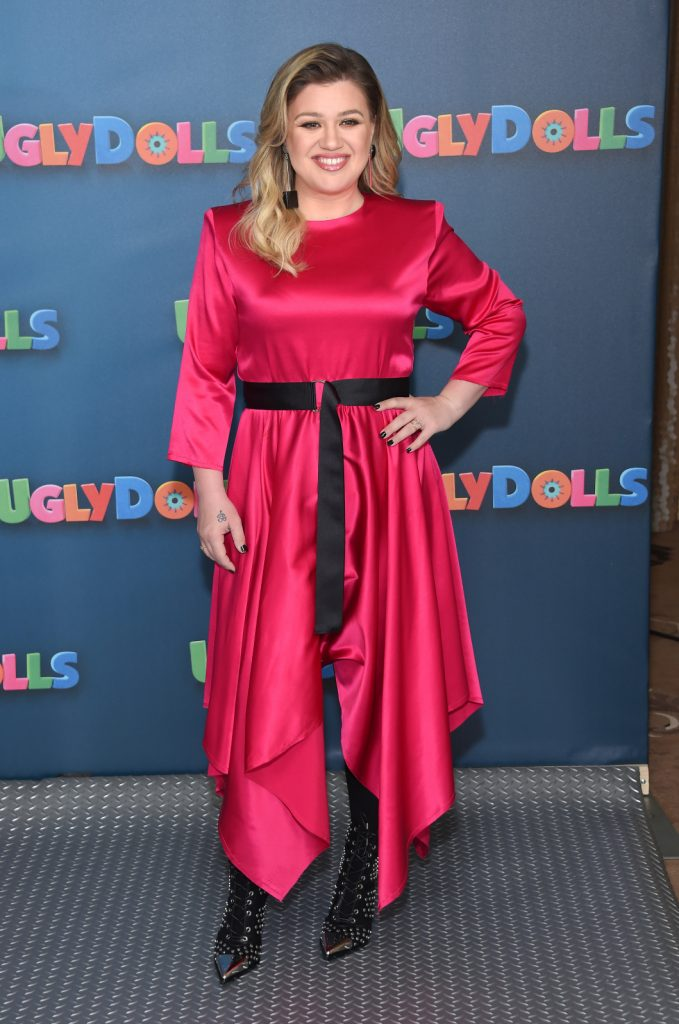Singer Kelly Clarkson in Red Dress