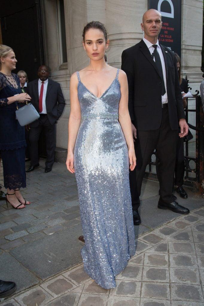 Actress Lily James at Paris Fashion Week