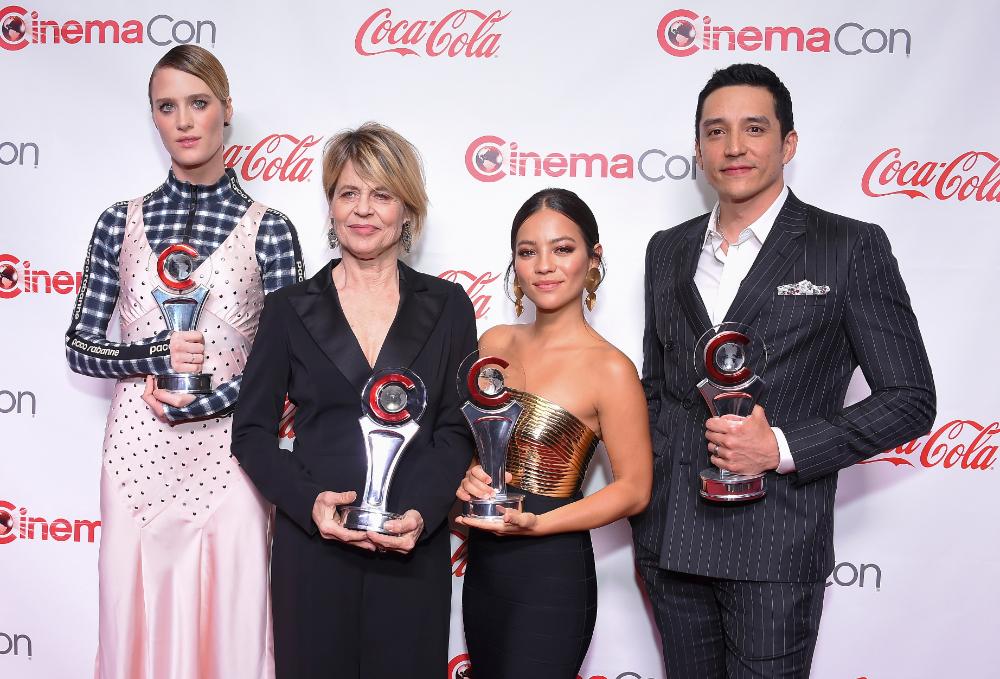 Mackenzie Davis, Linda Hamilton, Natalia Reyes and Gabriel Luna at Big Screen Achievement Awards